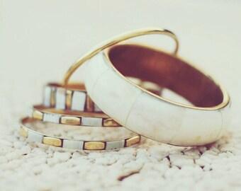 White bangle,bracelet, brass bracelet, boho bracelet, boho fashion, gypsy bracelet.