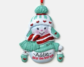 Best Big Sister Personalized Ornament - Blue - Hand Personalized Christmas Ornament