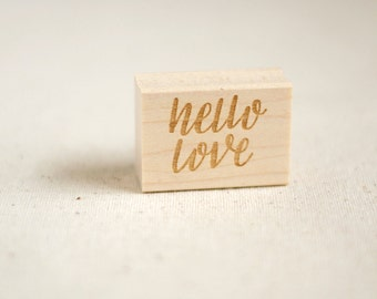 Hand lettered rubber stamp / Hello love / Christmas gift for wife, best friend, roommate / stationery, arts crafts, scrapbooking, cards
