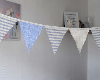 Fabric flag banner Triangle banner Linen bunting 1st Birthday banner Pennants banner Party decoration Natural blue striped