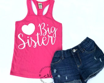 Big Sister Tank Top - Girls Tank Top - Big Sister Shirt - Girls Sibling Shirt - Tank Top - Big Sister - Girls Tank - Trendy Girls Shirt