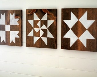 Farmhouse Barn Quilt Block Stencils - Set of 3 Martha Washington, Ohio Star & Bear Paw quilt block stencils