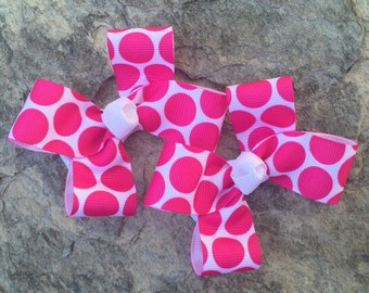 Hot Pink Polka Dot Hair Bows,Pigtail Hair Bows,Non Slip Hair Bows,3 Inches Wide,Alligator Clips,Birthday Party Favors