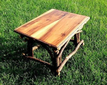 Rustic willow table with poplar top Twig base , poplar top