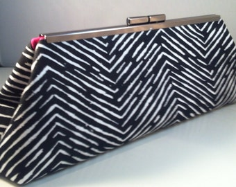 Black and White Chevron Skinny clutch