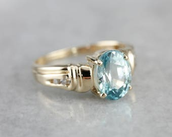 Blue Zircon and Diamond Ring, Modern Zircon Ring, Right Hand Ring, December Birthstone ZT8N6TH2-D