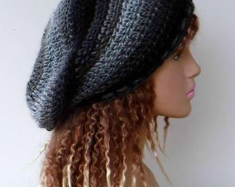 Monochromatic gray black slouchy beanie/woman slouchy hat/grey black winter hat/handmade crochet beanie/ urban slouch beanie hat