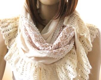 shawl - scarf - ivory shawl - bridal shawl - spring shawl - winter shawl - tricot shawl - tricot scarf - scarves - women scarves - women