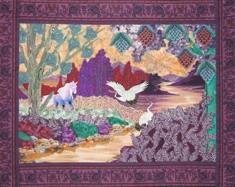 Landscape Wall Quilt, Fantasy, Horse, Cranes, Sunset, Dawn, Trees, Islands, Rocks, Colorful, Happy, Animal Friends