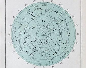 Antique Astronomy Print -  Circular Celestial Star Chart, Northern Hemisphere, Astrology. Colour Astronomical Print c. 1900