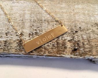 Gold Filled Bar Nameplate Necklace, Rose Gold Filled Bar Necklace, Sterling Silver Bar Necklace, Nameplated Necklace, Personalized Necklace