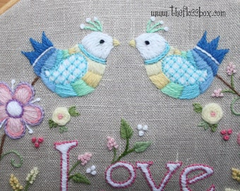 Love Crewel Embroidery Pattern