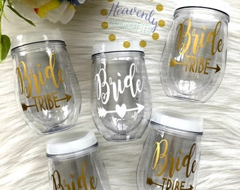 Bride with Bride Tribe Acrylic Stemless Wine Glass SET // Wedding Party Gift // Bridesmaids Gift // Bachelorette // Bride Tribe // Bride