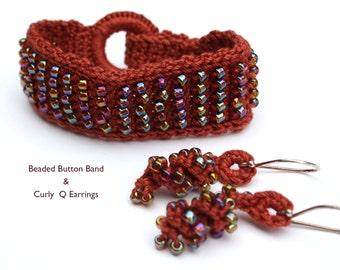 Beaded Crochet Bracelet & Earrings, Crochet Jewelry Set, Fiber Art, Gift for Her, Teacher gift in Rust with Brown Iridescent Beads
