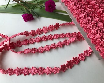 Cotton Lace Trim for Sewing, Dark Peach Trim, Cotton Lace by the yard, Coral Cotton Trim, Fashion Supply, 1.2 cm trim, Ships free with other