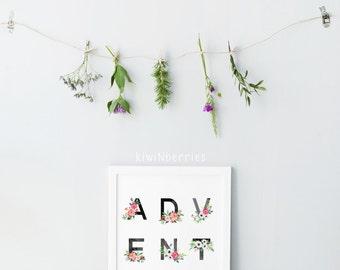 Adventure print - Adventure typography - Adventure art print - Watercolor prints - Printable art - Floral watercolor - Boho art prints