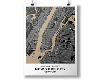 New York City, New York - City Map Poster