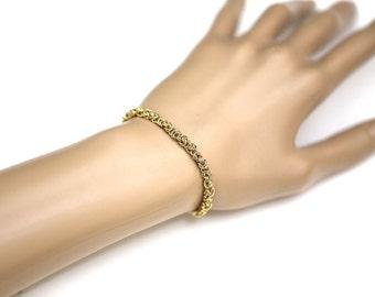 "Handmade Solid 14K Gold  Byzantine bracelet 7.5"" ~4MM~10.2 Grams~New"