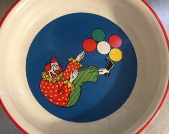 Vintage Barnums Animals Nabisco Childs Bowl   International China   Made in Japan   Circus Clown With Balloons   Primary Colors   Nursery