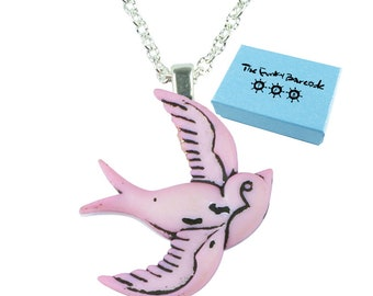 TFB - PINK SWALLOW Bird Necklace - Complete with gift box
