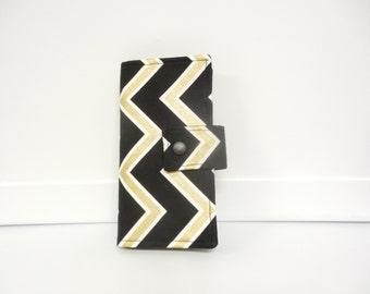 Fabric Checkbook Cover , Holder - Black and Gold Chevron
