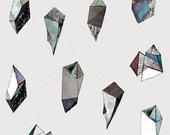 minimalistic gem mineral diamond poster          illustration design collage