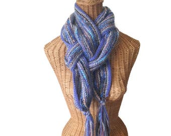 Knitted Scarf Womens Periwinkle Wool Mohair Long Scarf Tassels Hand Knit Winter Muffler