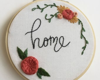Home Embroidery Hoop // Embroidery Art // Wall Art // Modern Embroidery // Handstitched // Handmade
