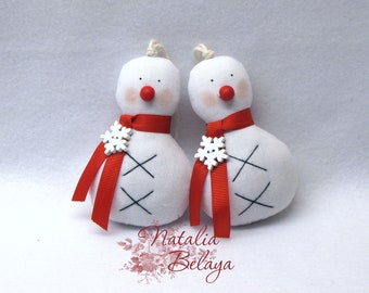 snowmans, set of 2 christmas tree ornaments,  stuffed cloth ornaments