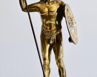 Vintage Metamee Greek Spartan Statue Metal Sculpture on Marble Base Made in Greece