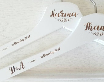personalised coat hangers for bride Virgin, wedding dress / bridesmaid / groomsmen's gift