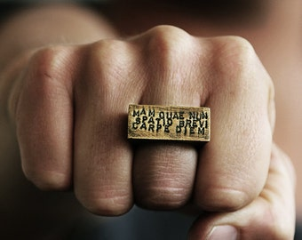 Personalize Man Ring Hand Stamped Gold Anqtiue Brass Rings