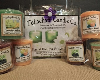 Votives, Votive Candle, Scented Candle, Cinnamon Candle, Candle Gift, Home Fragrance, Gift Set: Day at the Spa