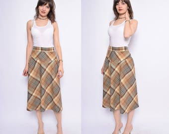 Vintage 70's Plaid Brown Midi Skirt / High Waisted Plaid Skirt  - Size Small