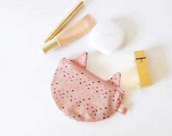 Pochette chat rose poudré, porte monnaie chat, pochette maquillage, porte monnaie, pochette chat, chat, cadeau enfant, pour elle