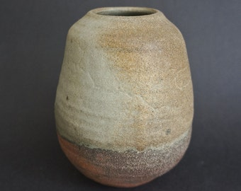 Green/brown woodfired small stoneware vase