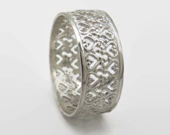 Sterling Filigree Band - King or Queen Ring