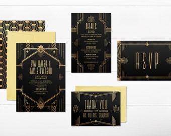 art deco wedding invitations, gatsby wedding invitations, printable wedding invitations, black and gold, art deco wedding invitation suite