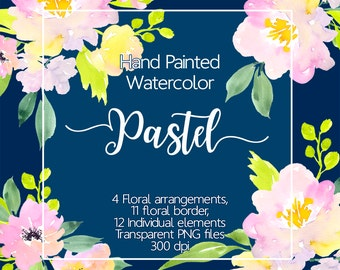 Floral clipart - Watercolor flower clipart, Floral border, Pastel flowers, Flower png, Florals watercolor clip art, Design elements