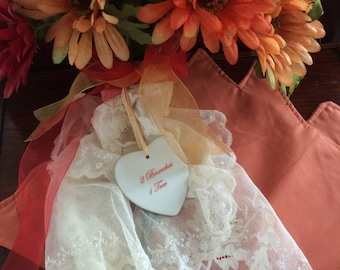 """Lovely Flat Heart Ornament - """"2 Branches 1 Tree"""""""