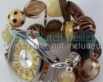 Wild Thing.. Chunky Animal Print, Brown and Yellow Interchangeable Beaded Watch Band