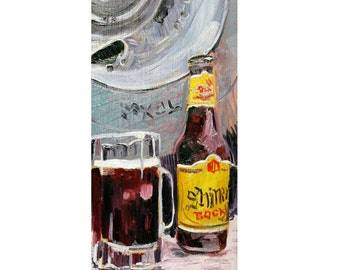 Shiner Bock Beer Poster, Texas Beer Art, 21st Birthday Gift for Son, Beer Gift for Brother, Texas Painting, Father's Day Gift, Bar Beer Art
