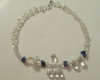 """Clear Choker Necklace with Blue Shells and Teardrop Beads, 15"""""""