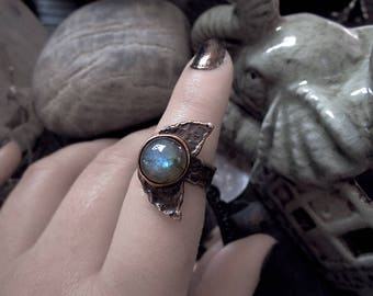 Copper Moon Ring, Labradorite Moon Ring, Goddess Ring, Half Moon Ring, Moon Child, Adjustable Ring, Nickel and Lead Free