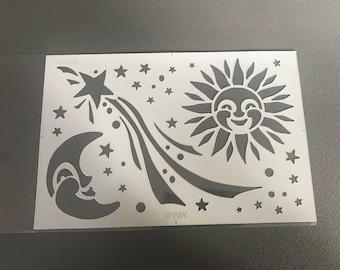 Adhesive wall stencil Moon Sun Star 20X30cm