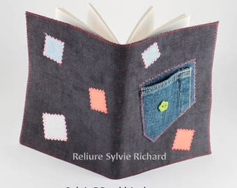 Recycled Jeans 's Notebook #8 - diary – blank book – travel journal – sketchbook, drawing, notes, calligraphy...  soft cover - bookbinding