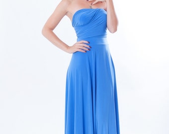 Bridesmaids dress Convertible/Infinity Dress - floor length with long straps in  middle blue silk color matching tube top