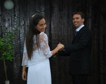 Wedding Shrug For Bride, White Lace. 4-Options Shawl, Shrug, Twist And Scarf, Bridal Cover up, Bridal Bolero, Wedding Shawl, Bridal Topper