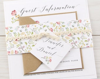 SAMPLE * Country Bloom Parcel Wedding Invitation Crochet Lace Floral