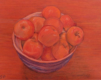 """Original Drawing - Bowl of Apples - Crayon on Paper - Unframed - 9"""" x 12"""""""